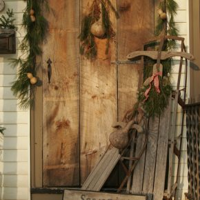 Crafting a primitive wooden door with small message board